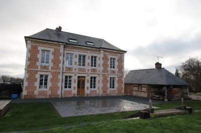Vente d'une maison ancienne en briques et pierres Campagne de Caudebec en Caux, Vallée de Seine, 76, Normandie